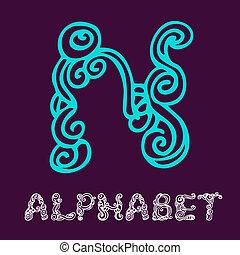 Doodle hand drawn sketch alphabet. Letter N