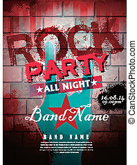 rock party poster - rock party all night poster template in...