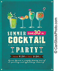 summer cocktail party poster - retro style summer cocktail...