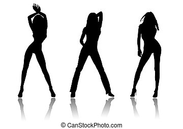 Team of beautiful woman on a white background