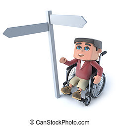 3d Boy in a wheelchair looks at roadsign - 3d render of a...