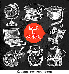Hand drawn sketch education object set. Back to school...
