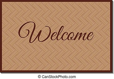 welcome mat - isolated rustic wicker welcoming mat with...