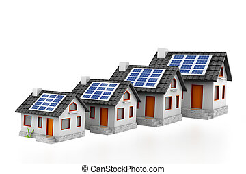 Growing home sale graph with solar panels