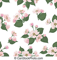 Seamless floral pattern, apple tree flowers - Seamless...
