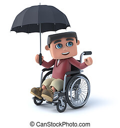 3d Boy in wheelchair with umbrella - 3d render of a boy in a...