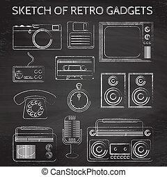 chalkboard retro gadgets