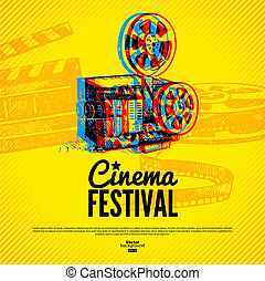 Movie cinema festival poster Vector background with hand...