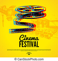 Movie cinema festival poster Vector background