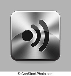 Chrome button - Wifi or wireless symbol chrome button or...