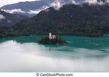 BLED, SLOVENIA - Catholic church situated on an island on...