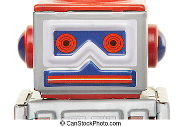 Robot vintage toy close up isolated on white, clipping path...