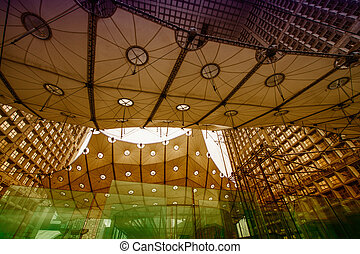 PARIS - JUNE 17, 2014: Powerful structure of Grand Arche in...