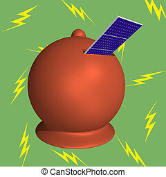 Moneybox solar panels lightning - Moneybox with solar panels...