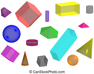 Geometric background - 3d solid of colored glass on a white...