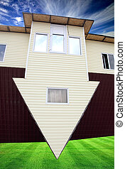 inverted house on green grass