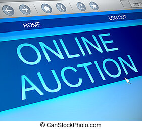 Online auction concept. - Illustration depicting a computer...