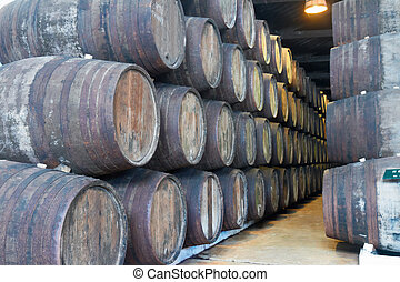 cellar with wine barrels - cellar with traditional aged...