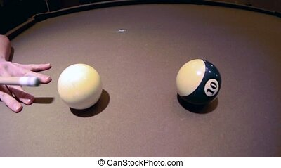 Billiards Cue Shot - Shooting the Cue Ball in a game of...