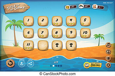 Desert Island Game User Interface Design For Tablet