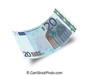 twenty euro banknote isolated on white background