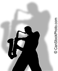Saxophone player silhouette with a big shadow on the...