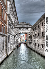 bridge of sighs in Venice in black and white in HDR - great...