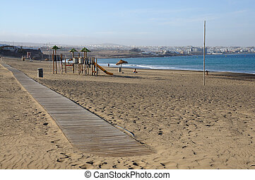 Playa blanca near Puerto del Rosario, Canary Island...
