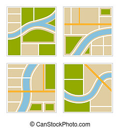 Set of Abstract City Map Illustration. Vector illustration