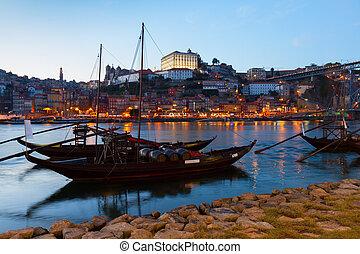 Night scene of Porto, Portugal - Night scene of Porto with...