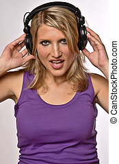 Portrait Of A Blond Woman With Headphones