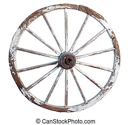 Old Wooden Wheel isolated with clipping path.