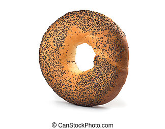 Bagel with poppy seeds isolated on white background