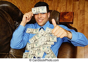 Young businessman with money on hea - Young businessman...