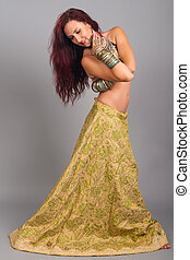 Beautiful girl belly dance movement, Young beautiful belly...