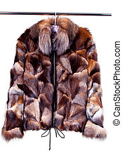 woman fur coat - close up shot of woman fur coat isolated on...