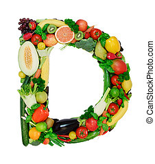 Healthy alphabet - D - Letter made from fresh vegetables a...