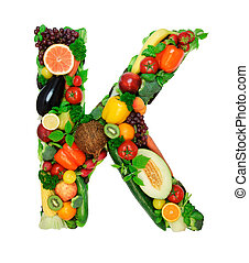 Healthy alphabet - K - Letter made from fresh vegetables a...