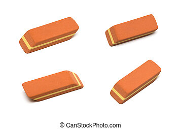 eraser set isolated on white