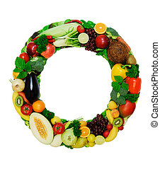 Healthy alphabet - O2 - Letter made from fresh vegetables a...