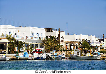 harbor port in typical cyclades greek island antiparos...