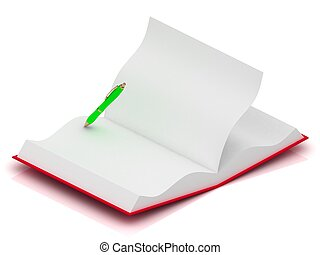 Open notepad in red cover with a green pen