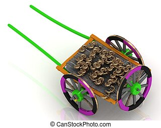 varicoloured old wagon cart with gold and wooden wheels...