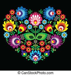 Polish, Slavic folk art art heart - Decorative traditional...