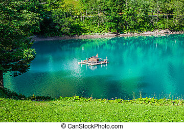 beautiful view mountain lake Steg,Malbun in Lichtenstein,...