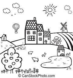 farm black and white landscape - black and white drawing of...