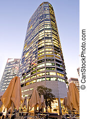 Modern office tower in early evening light - View of a...