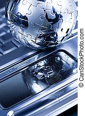 Puzzle earth - Chrome globe