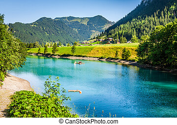 beautiful view mountain lake. Steg,Malbun in Lichtenstein,...