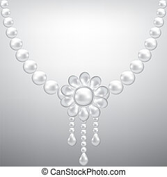 pearl necklace - Gray background with pearl necklace. Vector...